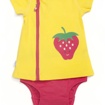 Strawberry Appliqué Pocket Zip Dress