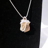 "Wire Wrapped Sea Glass, Peach/Orange, ""Ginger"""