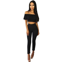 Womens 2 Piece Set Off Shoulder Sleeveless Lotus Jumpsuit Ladies Cut Out Bodycon Pencil Overalls For 4 season #1212 GS