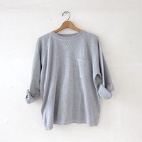 vintage boxy gray sweater. Slouchy pullover. Boyfriend cotton pocket shirt.