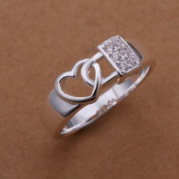 Silver Plated Ring Heart Lock Ring Valentine's Day, Christmas Gifts Size 8