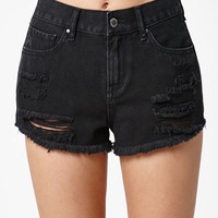 Bullhead Denim Co. Bodega Black Ripped High Rise Cutoff Denim Shorts at PacSun.com