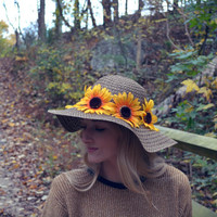 Floppy Hat Sunflower Floppy Hat Fall Floppy Hat Brown Large Floppy Hat Sunflowers Bohemian Floral