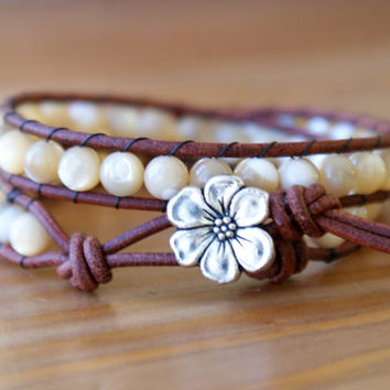 Natural Mother Of  Pearl bohemian beaded leather bracelet, 2x, double, brown, white, boho glam, cottage chic, trendy jewelry, hipster, SALE