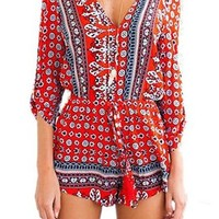 Womens Retro Print V Neck Half Sleeve High Waist Short Jumpsuit Rompers