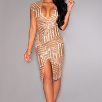 Nude Cap Sleeve V-Neck Sequined Bodycon Dress