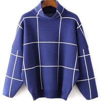 Blue High Neck Plaid Drop Shoulder Long Sleeve Knit Jumper