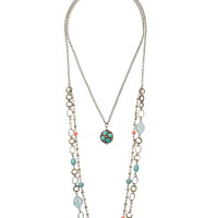 Mixed Bead And Chain Layered Necklace - Blue