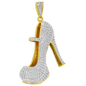 High Heels Ladies Pendant 18K Gold Plate Simulated Diamonds