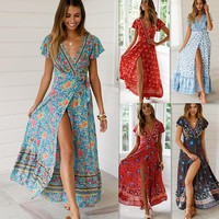 STYLEDOME Summer Casual holiday Boho Floral Dresses Sexy V-neck Long Dress Women Fashion Beach Maxi Dress Floral Sundress 10 Colors