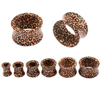 """Lot of 12pcs Leopard Acrylic Hollow Double Flare Tunnel Ear Plugs 2pcs Each of 2G 0G 00G 1/2"""" 9/16"""" 5/8"""""""