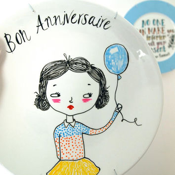 Hand painted decorative plate, Bon Anniversaire Happy Birthday