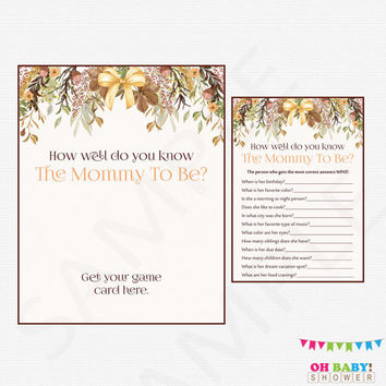 Autumn Baby Shower Printable Games, How well do you know the Mommy To Be Baby Shower Girl Boy, Fall Floral Baby Shower Instant Download FF01