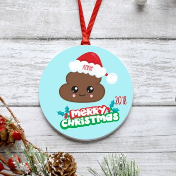 Poop Emoji Christmas Ornament