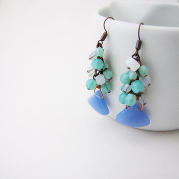 Pastel dangle earrings. Mint, pastel pink. Tender fashion