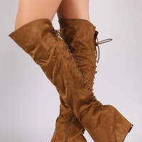 Suede Over-The-Knee Back Corset Wedge Boots