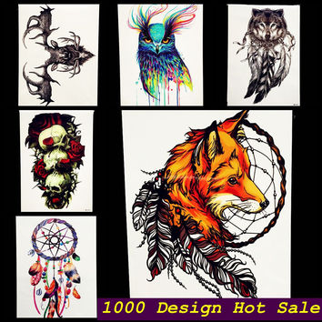 1PC Latest 3D Fox Designs Flash Waterproof Tattoo Women Body Art Sleeve Tatoo GHB-358 Feather Totem Armband Men Tattoo Stickers