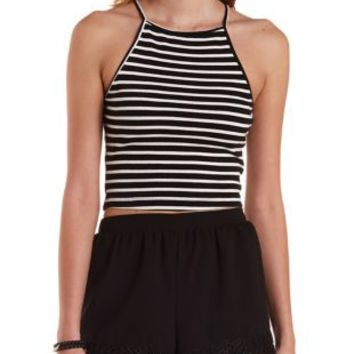 Black Combo Striped & Ribbed Crop Top by Charlotte Russe