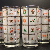 Culver Xmas Potpourri Highball Glasses, Set of Four