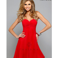 Preorder - Faviana 7650 Red Strapless Sweetheart Chiffon Short Dress 2015 Homecoming Dresses