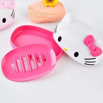 Cartoon Hello Kitty Bathroom Plastic Soap Dishes Storage Holder Soapbox Plate Tray Drain Creative Bathroom Tools 1C