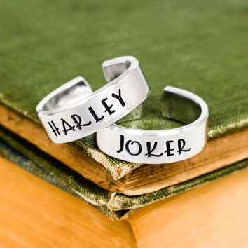 Joker and Harley Ring Set - Suicide Squad - Couples Ring Set Style