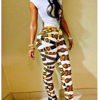 2015 Summer New Women Two Piece Outfits Keyshia Bodycon Bodysuit Retro Printed Jumpsuit Long Pants Sexy Club Wear Rompers