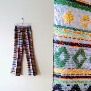 Vintage 70s Womens High Waisted Pants - Hippie Pants Hippie Trousers Hippy Groovy Pants Embroidered Boho Trousers Colorful Tribal SIZE 2