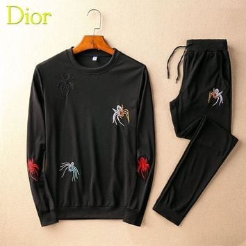 DCCKNY1Q Boys & Men Dior Top Sweater Pullover Pants Trousers Set Two-Piece Sportswear