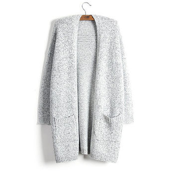 Grey Raglan Sleeve Cardigan With Pockets