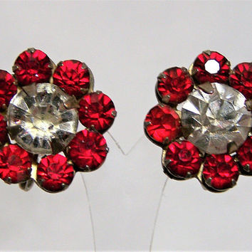 Art Deco Red Crystal Rhinestone Flower Earrings,  Signed Sterling Silver, Great Bridal Prom Wedding Jewelry, Mid Century Jewellery 417