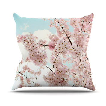 "Sylvia Cook ""Spring Beauty"" Pink Blue Throw Pillow"