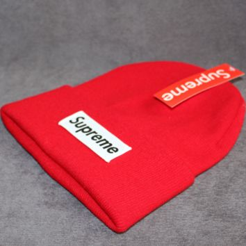 Supreme tide brand cold hat warm winter hat ski hat patch letters wool cap Red