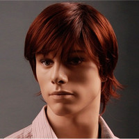 Men's Kanekalon Fiber Side-Swept Bang Short Straight Wig (Red-Brown)