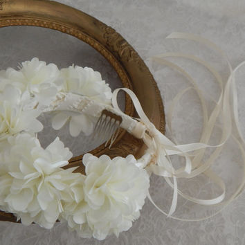 Ivory Bridal Flower Crown, Floral Garland, Silk Flower Hairpiece, Rose Crown, Wedding Hair Wreath