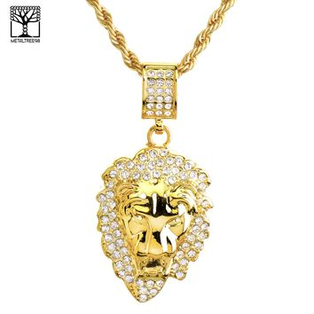 """Jewelry Kay style New Fashion Iced Out LION Head Medallion 26"""" Heavy Rope Chain Necklace NA 8860 G"""