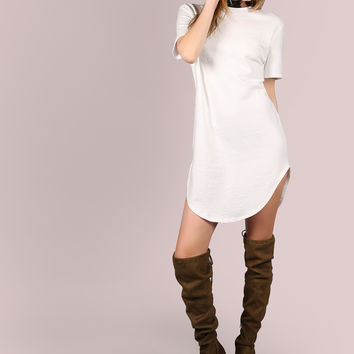 White Curved Hem Tee Dress