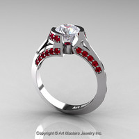 Modern French 14K White Gold 1.0 Ct White Sapphire Ruby Engagement Ring Wedding Ring R376-14KWGRWS