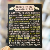 Wishes For You on Mother's Day Card