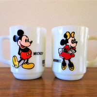 Vintage Mickey Mouse and Minnie Mouse Milk Glass Mugs, Anchor Hocking 1970's Pepsi Promotional Disney Milk Glass Coffee Mugs