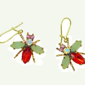 Czech Glass Rhinestone Fly Earrings, Red Body and Opaque Mint Green Wings, Pierced Style Earrings