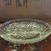 VINTAGE OVAL CRYSTAL RELISH DISH WITH HANDLES