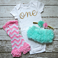 Baby Girl Baby Girl 1st Birthday Outfit Photography Props Gold One Onesuit Pink Bloomers Legwarmers Mint Gold Cake Smash Outfit Chevron