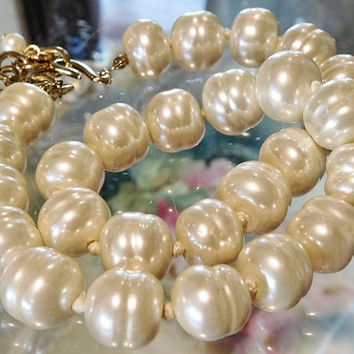 Gripoix Glass Pearl Necklace Choker Faux Baroque Pearl Necklace CHANEL Style Hand Knotted Strand Pearls Couture Designer High Fashion Bride