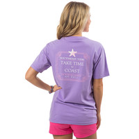 Take Time To Coast Pocket Tee Shirt in Lilac Purple by Southern Tide