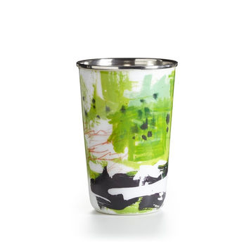 10oz Watercolor Enameled Tumbler Candle - Pineapple Cilantro, Thai Lily or Watermint