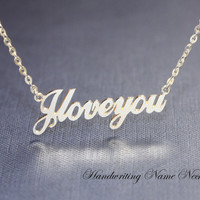 Handcrafted Name Necklace - Handriting Font - Perfect Gift  - Sterling Silver