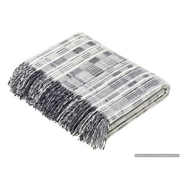 Merino Lambswool Throw Blanket - Multistripe - Gray, Made in England