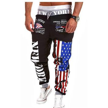 COULHUNT 2017 American Flag Star Print Trousers Men's Outwear Sweatpants Fashiom National Flag Printed Pants Hip Hop Harem Pants