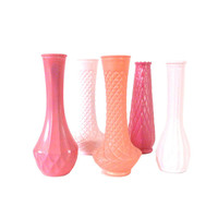 painted vases, pink home decor, vases, vase set, hot pink, upcycled, shabby chic